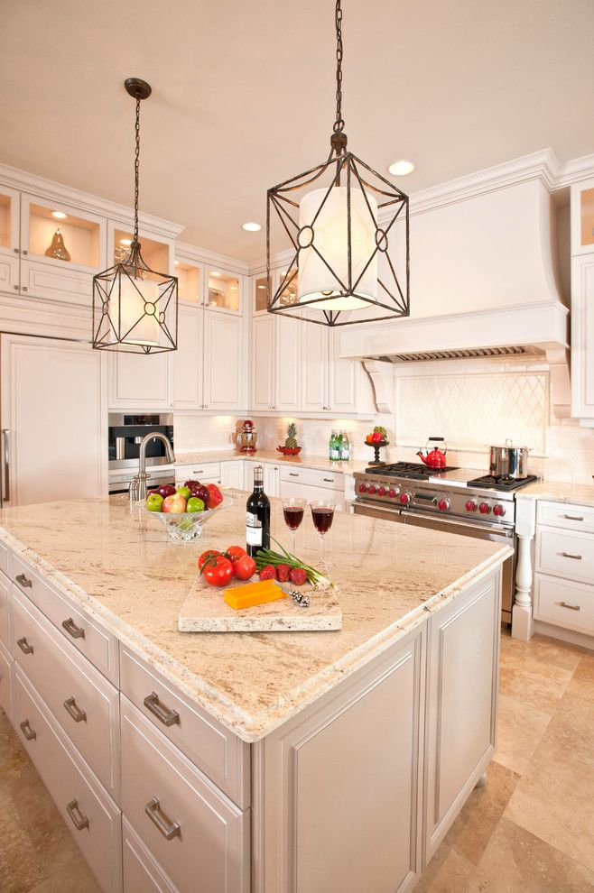 White Galaxy Granite for a Traditional Kitchen with a Monochromatic and Kitchens by Veranda Homes
