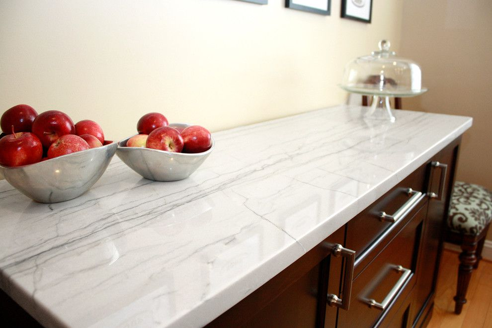 White Macaubas Quartzite for a Contemporary Kitchen with a Shaker and White Macaubas Quartzite Kitchen by Stoneshop
