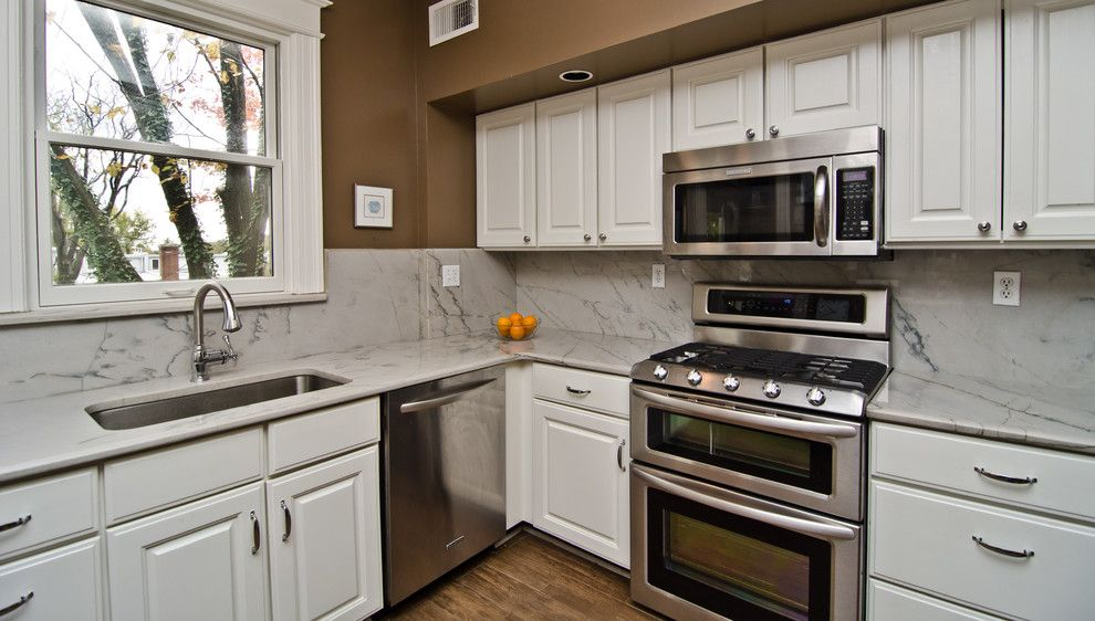 White Macaubas Quartzite for a Traditional Kitchen with a Quartzite and White Macaubas Quartzite in Nw Dc by Granite Grannies