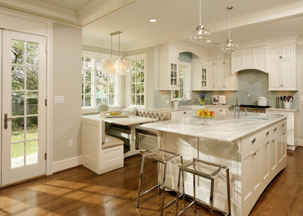 White Princess Quartzite for a Traditional Kitchen with a Pendant Light and Deluxe in Alexandria by Erin Hoopes