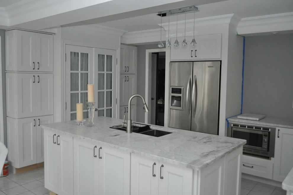 White Princess Quartzite for a Traditional Kitchen with a Traditional Kitchen and Brick's Project by Pro Stone
