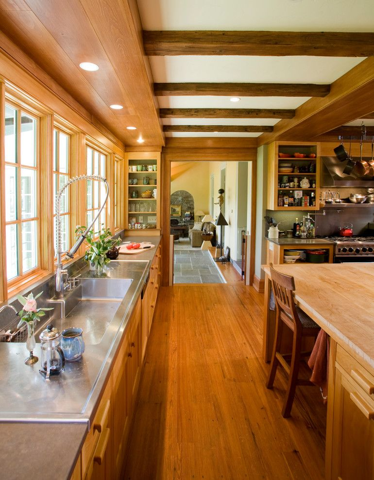 Whitehaus for a Traditional Kitchen with a Wood Beams and Newtown Residence by Jarrett Vaughan Builders, Inc.