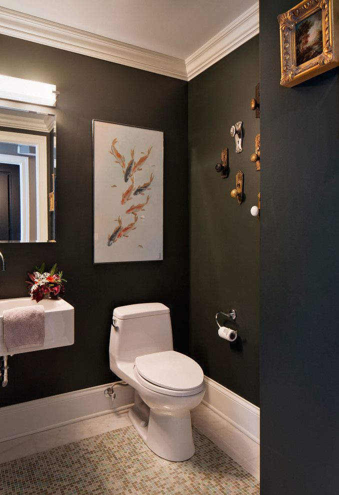 Whitehaus for a Transitional Powder Room with a Bath Bar and Hollywood Regency Residence by Inspired Interiors