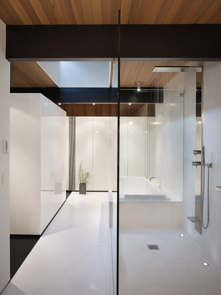 Whites Plumbing for a Modern Bathroom with a Shower and Wood Block Residence by Chadbourne + Doss Architects