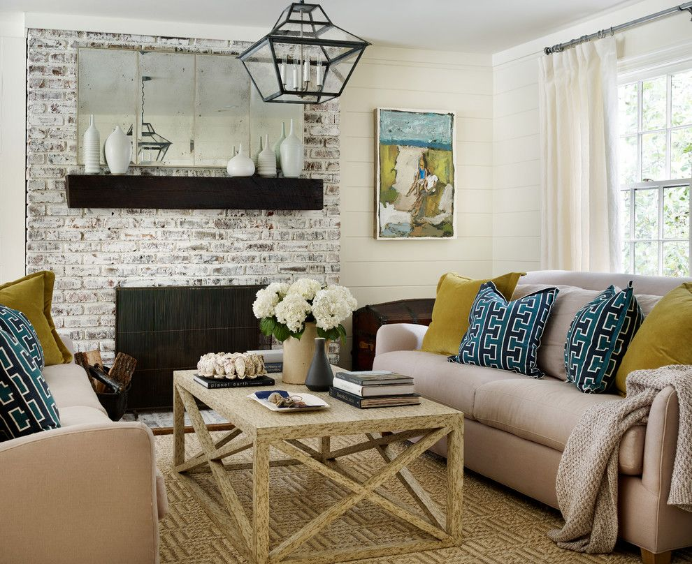 Whitewashing Brick for a Beach Style Living Room with a Plank Walls and Hanover West by Anna Braund