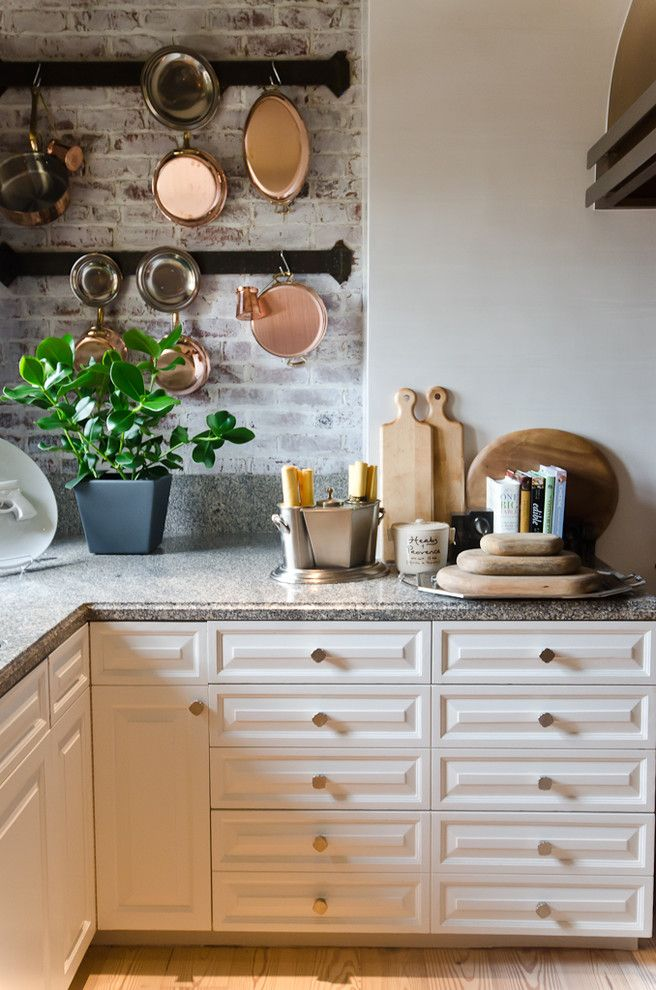 Whitewashing Brick for a Traditional Kitchen with a Square Drawer Pulls and Lifestyle 2020 by Green Couch Interior Design by Alex Amend Photography