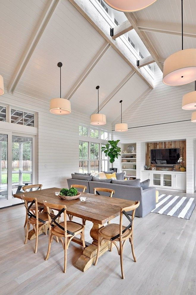 Whitley Furniture for a Farmhouse Dining Room with a Great Room and Modern Farmhouse by Tim Brown Architecture