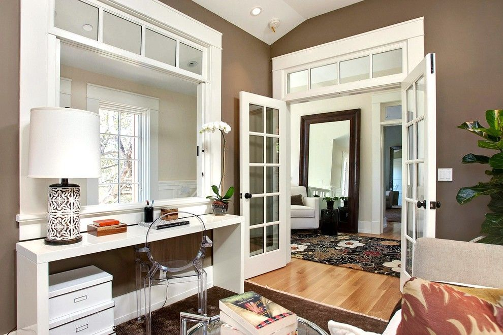 Wilcox Furniture for a Transitional Home Office with a Interior Window and Mill Valley, Ca by Urrutia Design