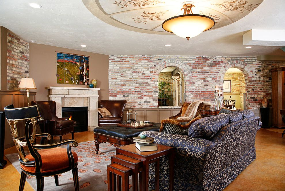 Wilcox Furniture for a Transitional Living Room with a Ceiling Mural by Anna Donahue and the Wilcox Estate; Gr Symphony Show House by Anna Donahue Art