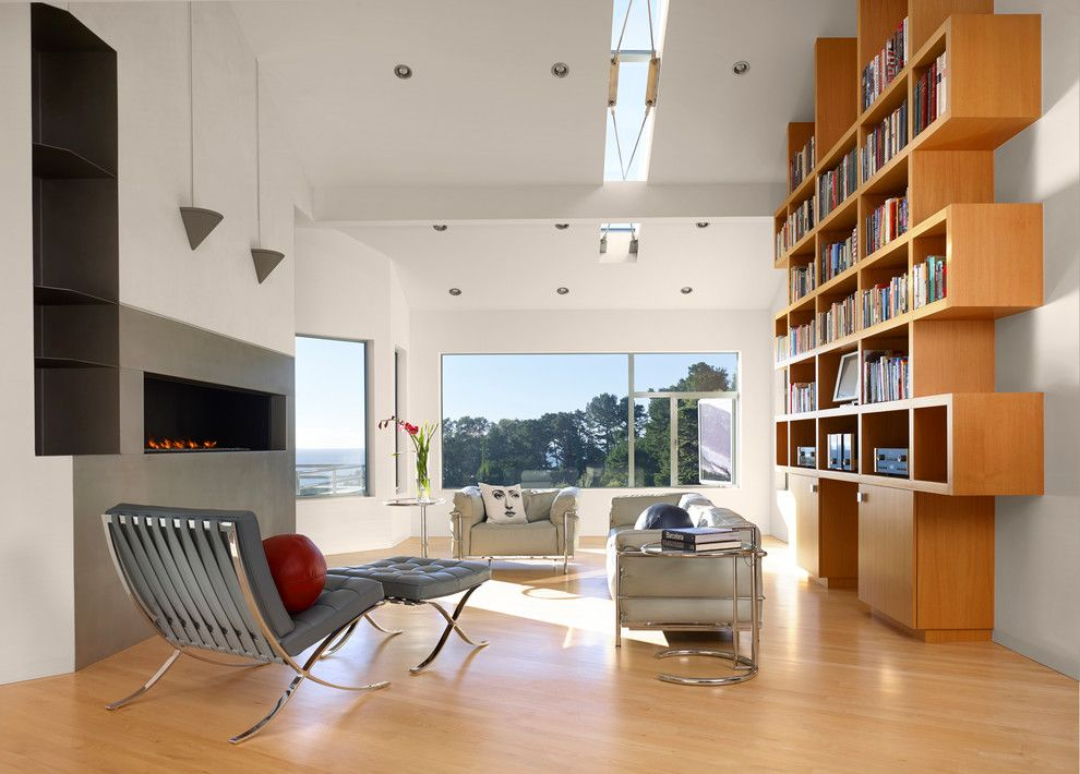 Wilshire Fireplace for a Contemporary Family Room with a Sofa and Muir Beach, Ca Residence by Jerry Kler Architects
