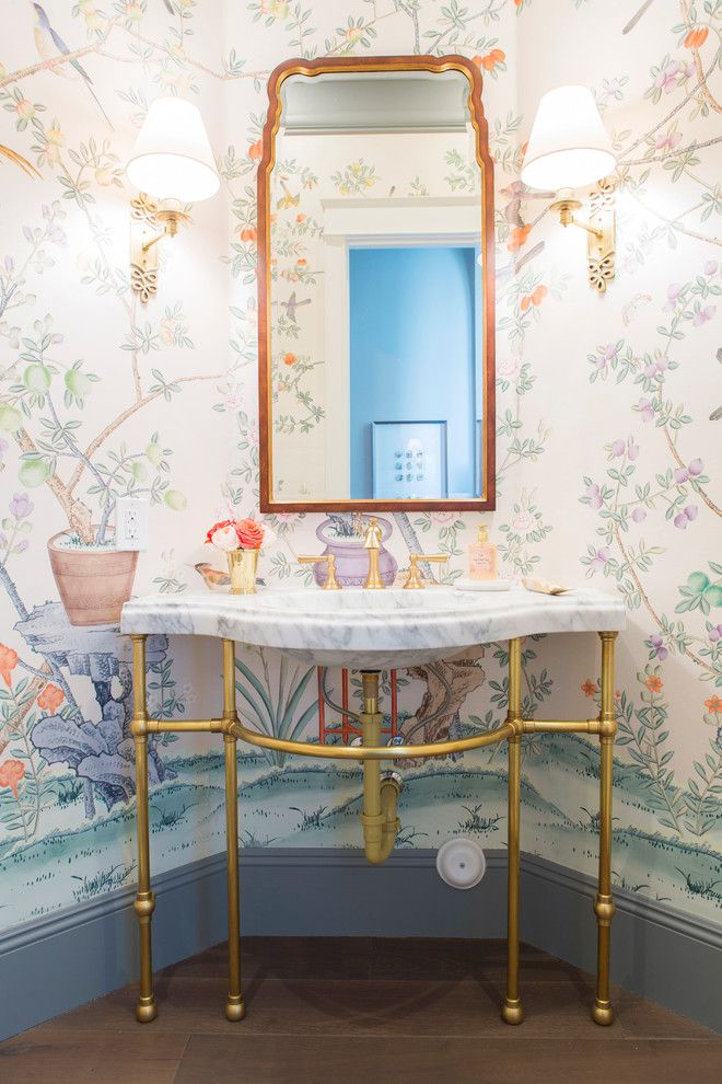 Wilson Parker Homes for a Traditional Powder Room with a Garden Wallpaper and Street of Dreams Arizona by Caitlin Wilson Design