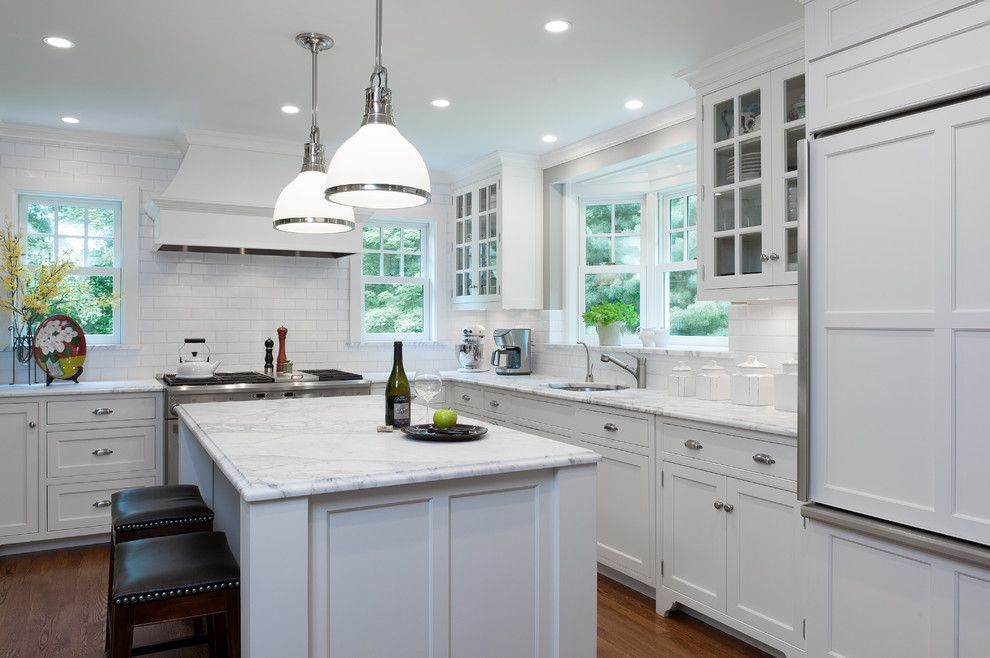 Window Sills for a Traditional Kitchen with a Crown Point and Kitchen at a Pleasantville Foursquare by Fivecat Studio   Architecture