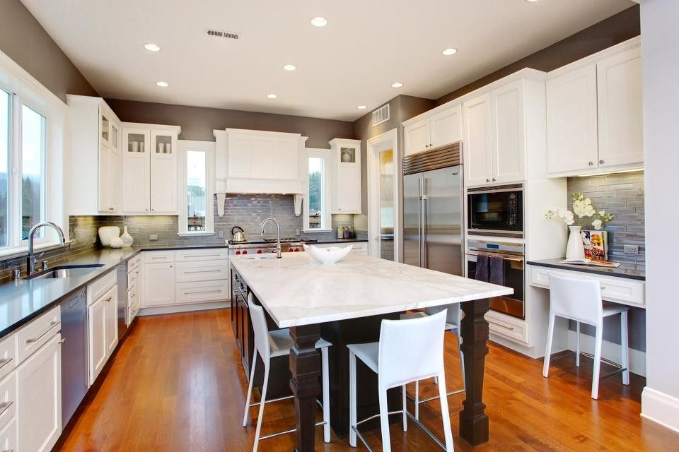 Windsor Plywood for a Traditional Kitchen with a Kitchen Seating and Custom Cabinets and Countertops by Windsor Plywood