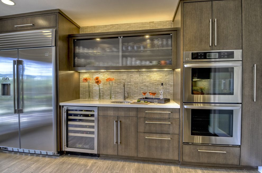 Wolf Classic Cabinets for a Contemporary Kitchen with a Tile Backsplash and Contemporary, Clean, Warm Kitchen by Kristin Lam Interiors