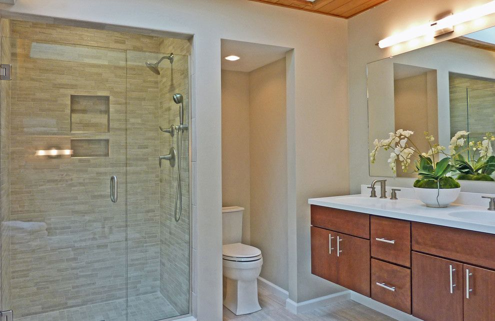 Wolf Classic Cabinets for a Eclectic Bathroom with a Gray Tile and Hudson Valley Design by Hudson Valley Design