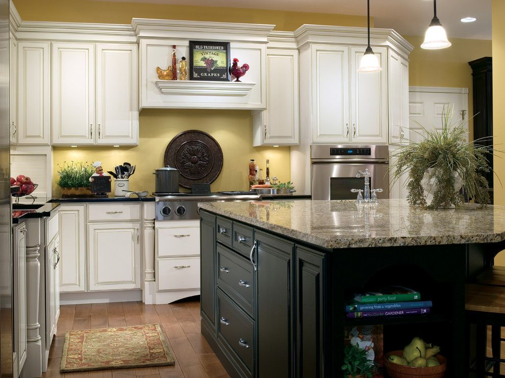 Wolf Classic Cabinets for a Traditional Kitchen with a Island and Kitchen Cabinets by Capitol District Supply