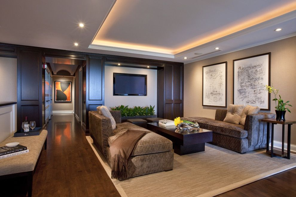 Wolfers Lighting for a Contemporary Family Room with a Baseboards and Lincoln Park West Lounge B by Michael Abrams Limited
