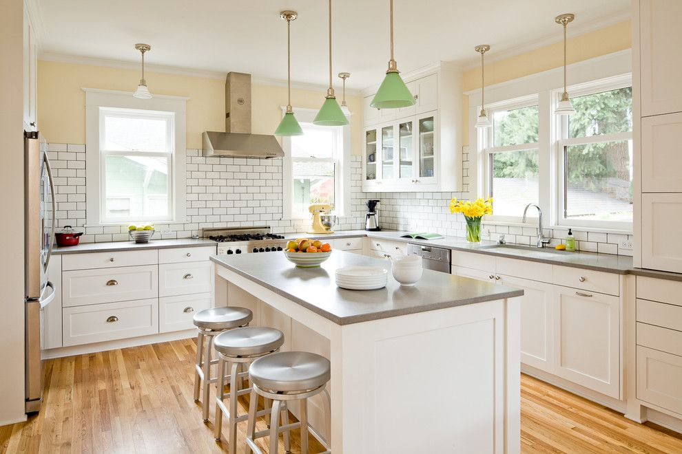 Wolfers Lighting for a Contemporary Kitchen with a Pale Yellow Walls and Homes Portfolio by Lincoln Barbour Photo