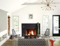 Wolfers Lighting for a Contemporary Living Room with a Sputnik Chandelier and Benjamin Moore by Benjamin Moore