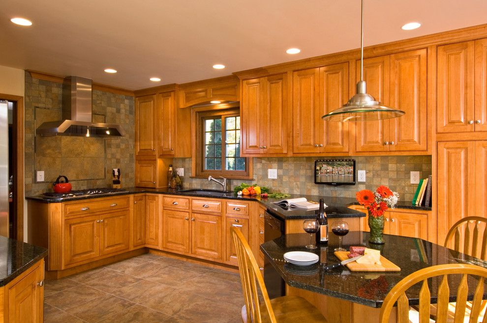 Wolfers Lighting for a Traditional Kitchen with a Cherry Kitchen and Clifton Park Kitchen Renovation by Kitchen and Bath World, Inc