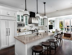 Woodbridge Furniture for a Traditional Kitchen with a Oil Rubbed Bronze Pendant and Kitchen by TZS Design