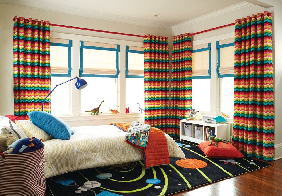 Woodbridge Furniture for a Transitional Kids with a Colorful Curtains and Vibrant Kid's Bedroom by Budget Blinds