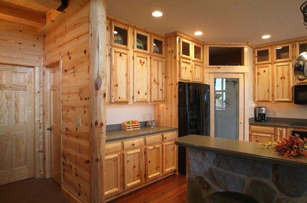 Woodhaven Lumber for a Rustic Kitchen with a Tongue and Groove Paneling and Knotty Pine Kitchen by Woodhaven Log & Lumber