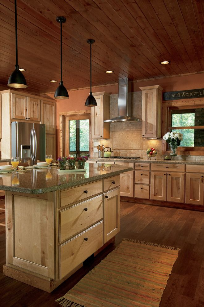 Woodland Cabinetry for a Rustic Kitchen with a Transitional and Rustic Newport Maple Natural with Chocolate Glaze by Woodland Cabinetry