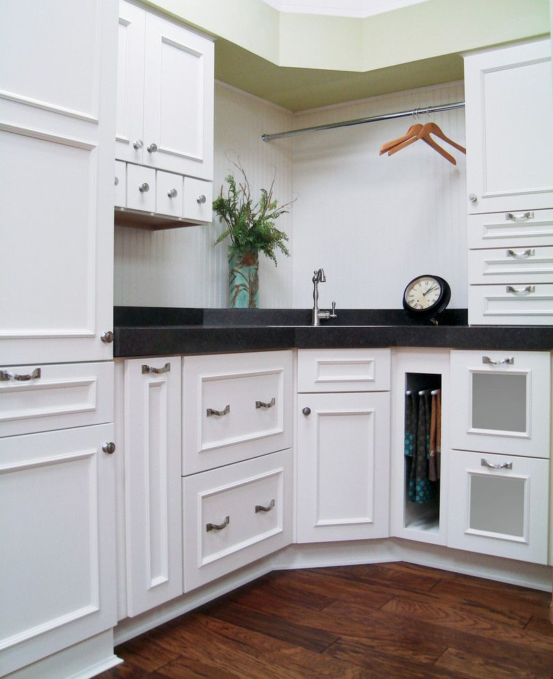 Woodland Cabinetry for a Transitional Laundry Room with a Classic and Vista Plus 5 Pc Maple Ivory by Woodland Cabinetry