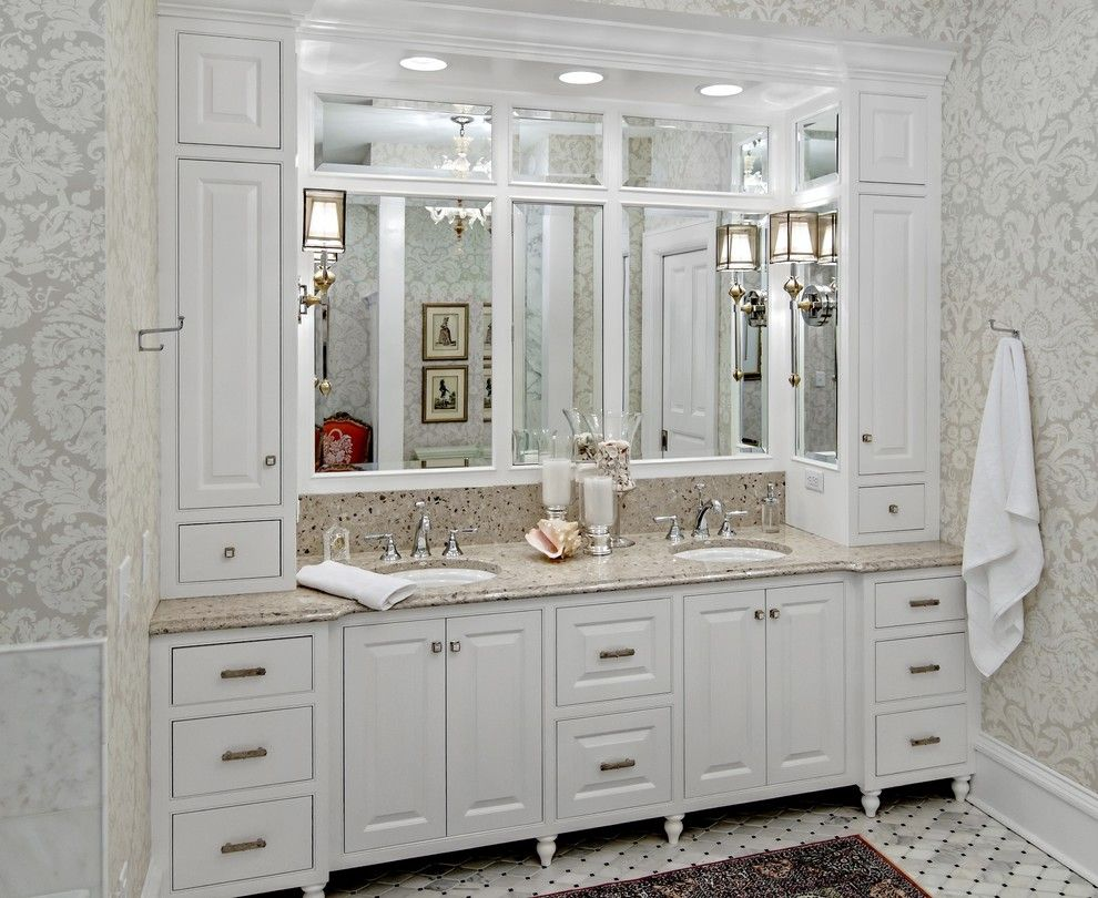 Woodshop Ideas for a Traditional Bathroom with a Mirror Wall and the Woodshop of Avon by the Woodshop of Avon