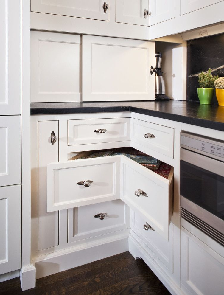 Woodshop Ideas for a Traditional Kitchen with a Corner Drawers and the Woodshop of Avon by the Woodshop of Avon