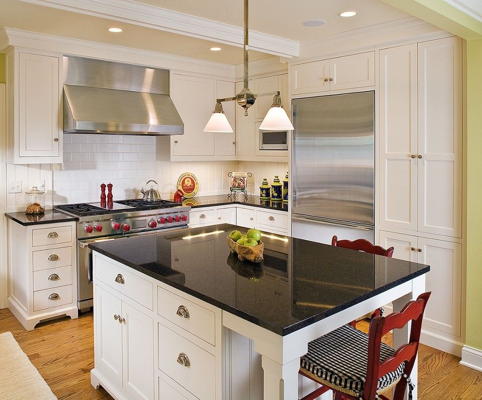 Woodshop Ideas for a Traditional Kitchen with a Painted Wall and the Woodshop of Avon by the Woodshop of Avon