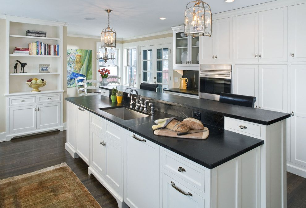 Woodshop Ideas for a Traditional Kitchen with a White Wood Cabinets and the Woodshop of Avon by the Woodshop of Avon
