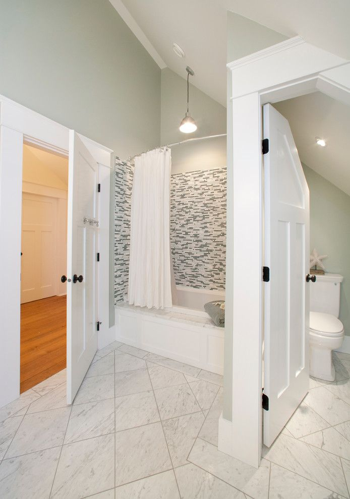 Woodworkers Hardware for a Contemporary Bathroom with a Separate Toilet and Icon Development Tofino Job by City Tile