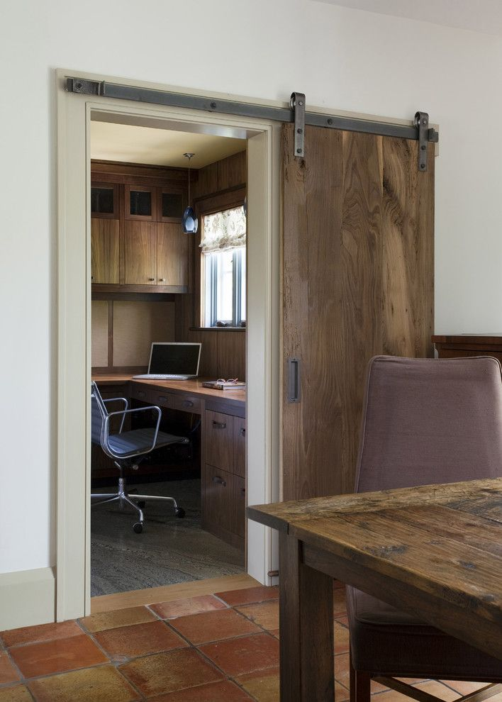Woodworkers Hardware for a Rustic Home Office with a Marble Floor and Persimmon by Siemasko + Verbridge