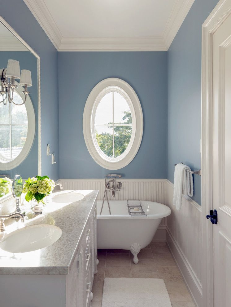 Ws Bath Collections for a Beach Style Bathroom with a Blue and White Bathroom and Port Royal Custom Residence by Bcb Homes, Inc.