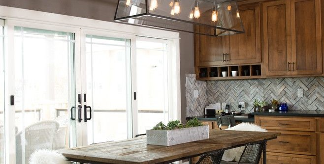 www.restorationhardware.com for a Rustic Dining Room with a Herringbone Backsplash and a Rustic Modern Dining Room by Gretchen Hansen