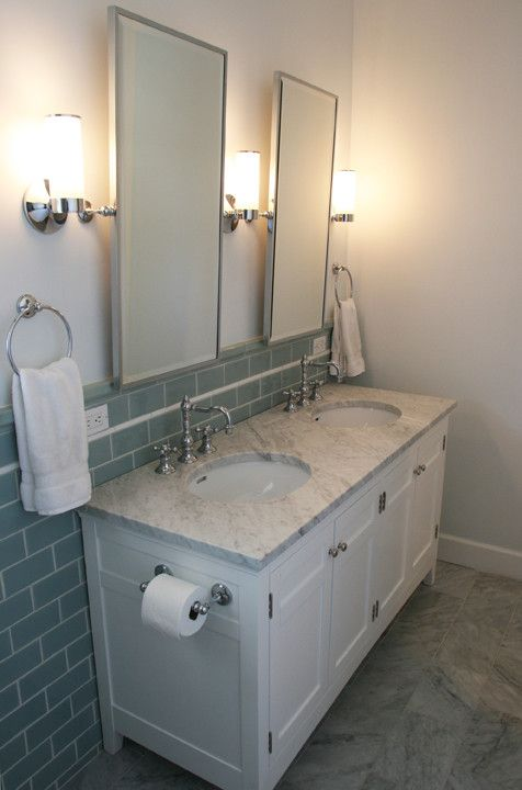 Www.restorationhardware.com for a Traditional Bathroom with a Double Basin and Bathroom Remodel by John Milander Architects