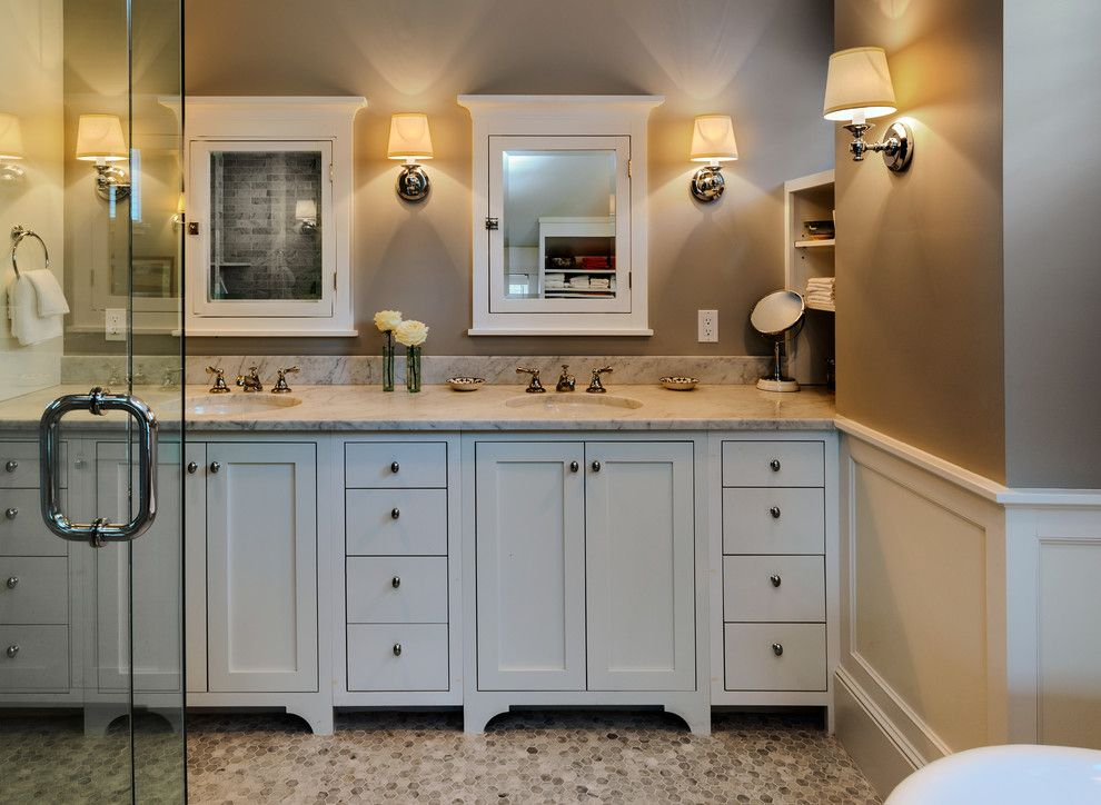 Www.tourfactory.com for a Beach Style Bathroom with a Wainscot and Hills Beach Cottage by Whitten Architects