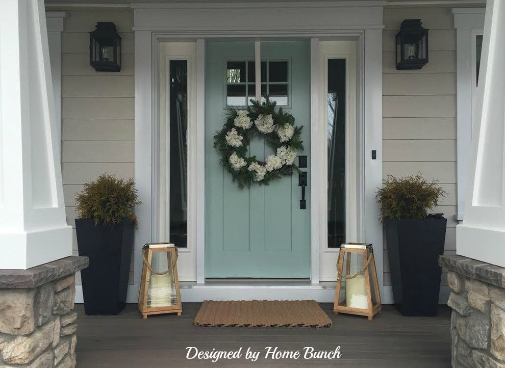 Wythe Blue for a Beach Style Porch with a Benjamin Moore Wythe Blue Door and Benjamin Moore Wythe Blue HC-143 Front Door by Home Bunch