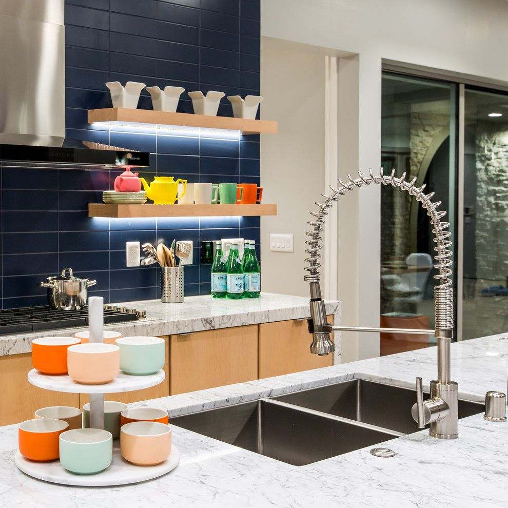 Wythe Blue for a Contemporary Kitchen with a White Countertop and Danze by Danze Inc