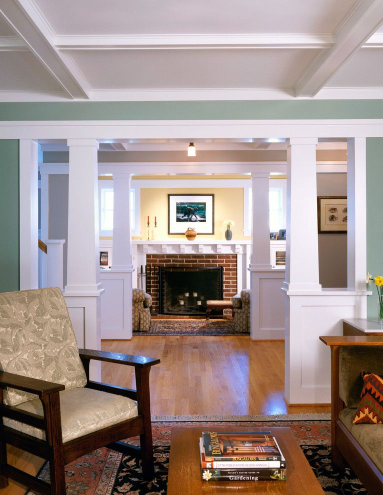 Wythe Blue for a Craftsman Living Room with a Ceiling and Arlington Bungalow by Moore Architects, Pc