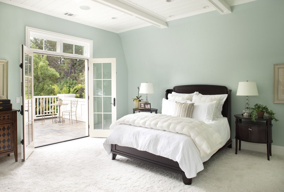 Wythe Blue for a Traditional Bedroom with a White and Master Bedroom by Arch Studio, Inc.
