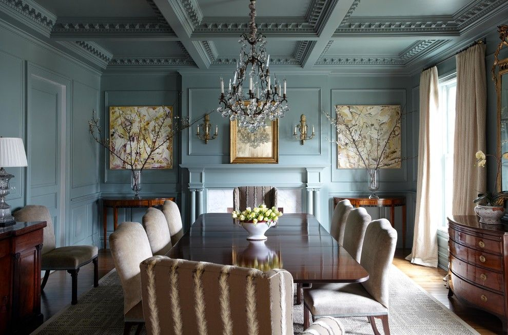 Wythe Blue for a Traditional Dining Room with a Blue Wall Molding and Glimpses... by Lisa Hilderbrand   Hilderbrand Interiors