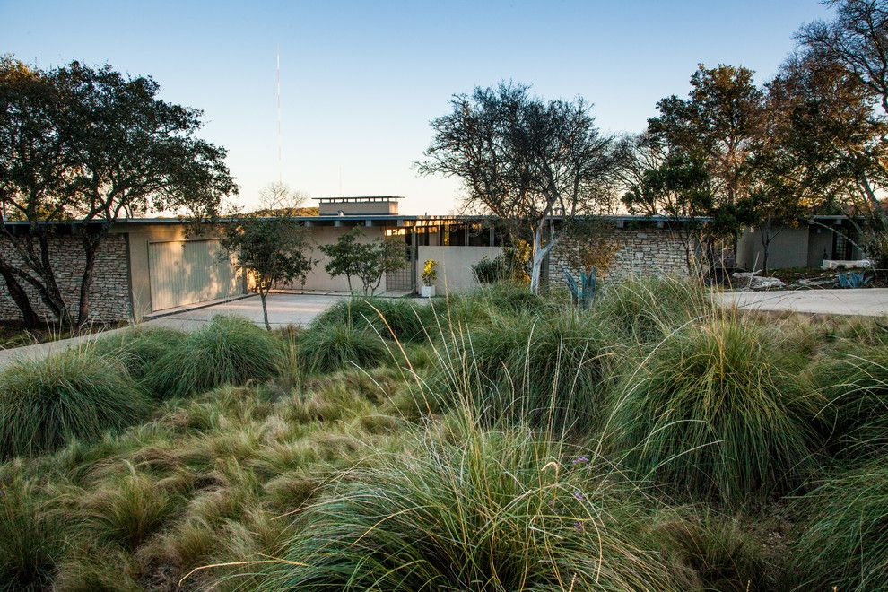 Xeriscape for a Midcentury Landscape with a Hill Country and Mid-Century Modern Now by Robert Leeper Landscapes