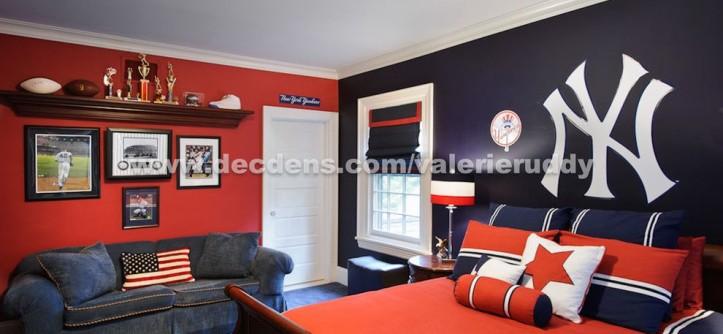 Yankees Wallpaper for a Contemporary Bedroom with a Sports Dcor and Contemporary Bedroom by local.decoratingden.com