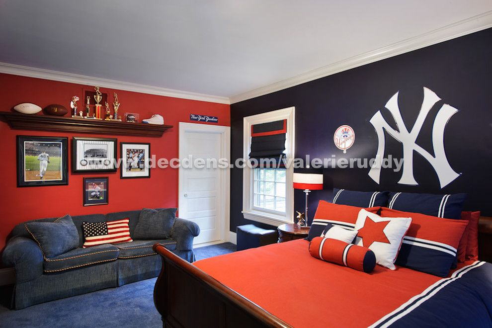 Yankees Wallpaper for a Contemporary Bedroom with a Sports Dcor and Contemporary Bedroom by Local.decoratingden.com