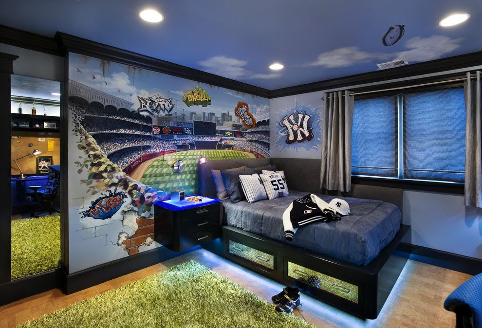 Yankees Wallpaper for a Contemporary Kids with a Baseball and Teen Boy's Bedroom by Trg Architects