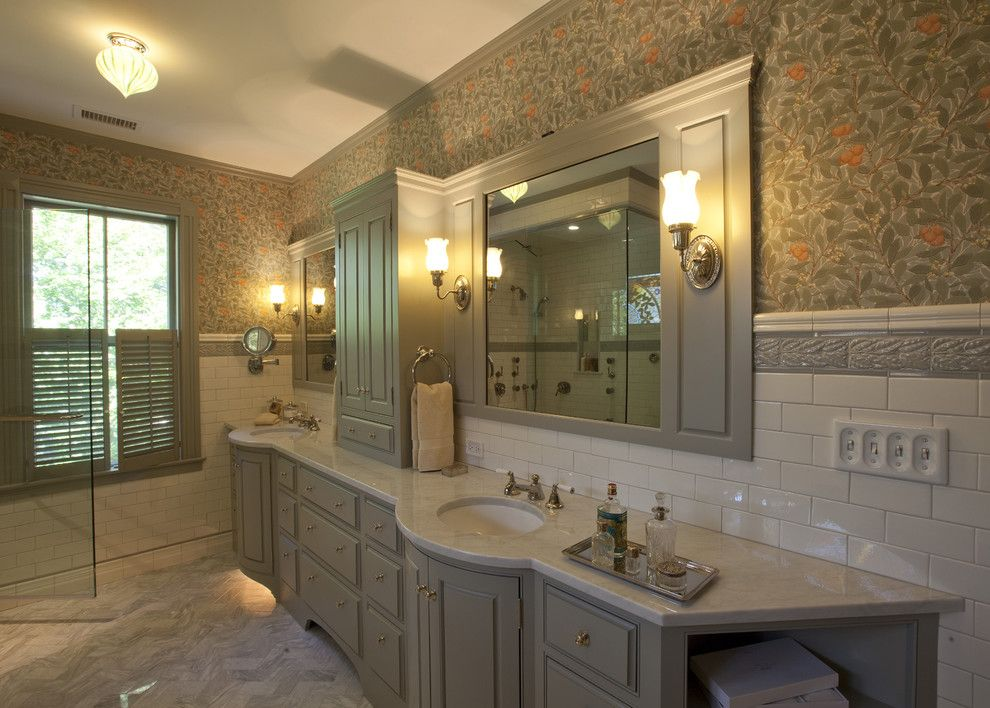 Yankees Wallpaper for a Traditional Bathroom with a Wall Sconces and Victorian Splendor by Siemasko + Verbridge