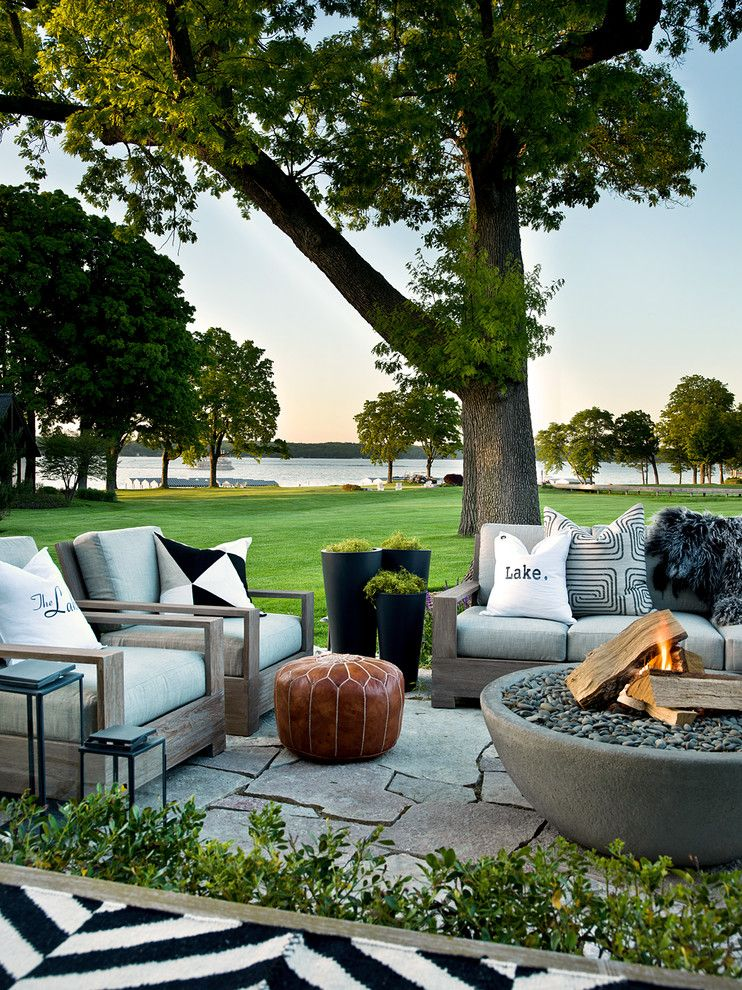 Ymca Town Lake for a Transitional Patio with a Moroccan Pouf and Lake Geneva Summer Home by Cynthia Lynn Photography